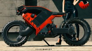 Hubless Electric Motorcycle with Mad Max Looks