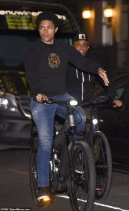 Trevor Noah enjoys some weekend down time and hits the streets of NYC for a bike ride with a friend